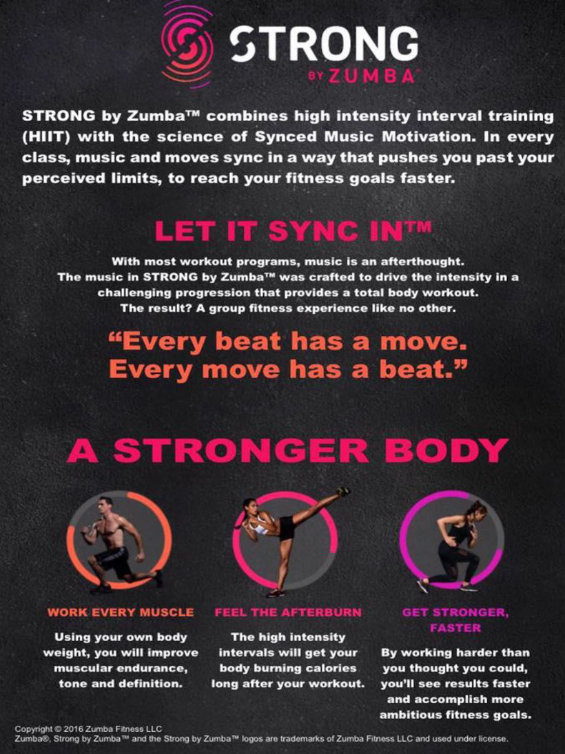 Strong by Zumba - let it sync in - a stronger body - work every muscle - feel the afterburn - get stronger, faster.