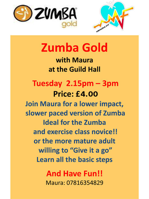 Zumba Gold with Maura at the Guild Hall - Tuesday 2.15pm – 3.00pm, Guild Hall, Cheadle. For mature adult. price: £3.50 only